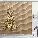 ABAKUHAUS Estrella de mar Cortina de Baño, Árbol de Las Conchas, Material Resistente al Agua Durable Estampa Digital, 175 x 200 cm, Marrón pálido