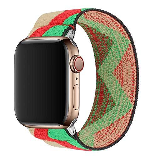 TopPerfekt Correa elástica compatible con Apple 42/44 mm, adecuada para iWatch Series SE/6/5/4/3/2/1 suave correa elástica de pulsera (1Boho Green, XS se adapta a muñecas de 14,5 a 15,8 cm, 42/44 mm)
