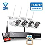 SANNCE Wireless Security System 8CH 1080P CCTV NVR and 4X 2.0MP Enhanced Signal Outdoor WiFi IP...