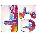 3Pcs Alfombra de baño antideslizante Juego de tapa de tapa de asiento de inodoro Alfombrilla de baño suave antideslizante de Londres Histórico Big Ben y autobús Gran campana Torre del reloj Reino Unid
