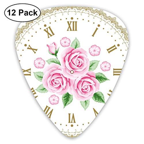 Shabby Chic Vintage Uhr Zifferblatt Rosen Römische Zahlen Antik Vintage Hellrosa Grün Dunkel Khaki (12er Pack)