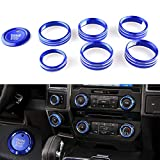 Boigoo 8pcs AC VOL Knob Trims Cover for Ford F150 2016-2020, Air Conditioner Switch Button, Audio Trim Ring, 4WD & Trailer Engine Knob Kits Aluminum Alloy Blue