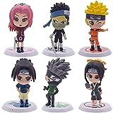 Naruto Cake Topper - 6pcs Naruto Mini Juego de Figuras Mini Muñeca de Naruto Niños Mini Decoraciones...