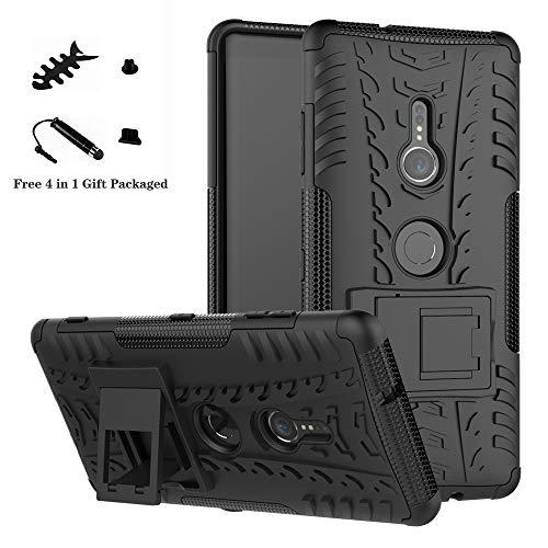 LiuShan Xperia XZ3 Hülle, Dual Layer Hybrid Handyhülle Drop Resistance Handys Schutz Hülle mit Ständer für Sony Xperia XZ3 Smartphone (Not fit Xperia XZ2),Schwarz