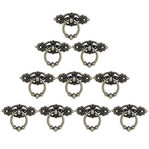 KBNIAN 10 Stück Möbelgriffe Messing Vintage Türgriffe mit 20 Schrauben Alte Griffe für Kommode, Antiken Weichholz Schrank