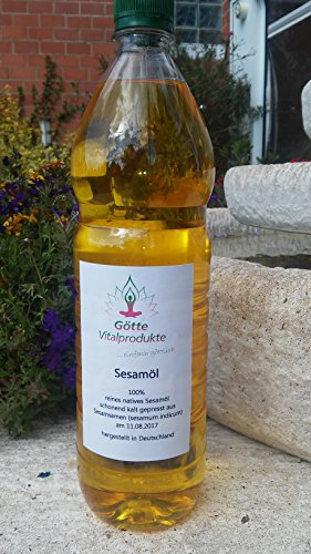 Sesamöl 1. Kaltpressung, nativ, vegan, vegetarisch 1 Liter Speiseöl / Massageöl
