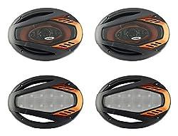 D TREK DT-6900 PLATINUM Universal Black and Orange Plastic Rear Outside Speakers with Speaker Grills (4 - Pieces),D TREK,DT-6900