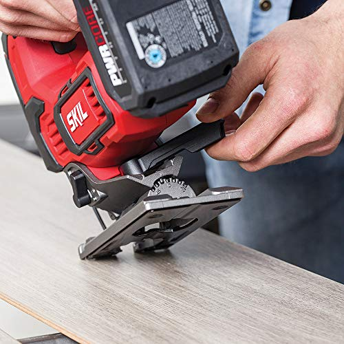 """SKIL PWR CORE 20 Brushless 20V 1"""" Stroke Jigsaw, Includes 2.0Ah Lithium Battery with PWR ASSIST USB & PWR JUMP Charger - JS820202"""
