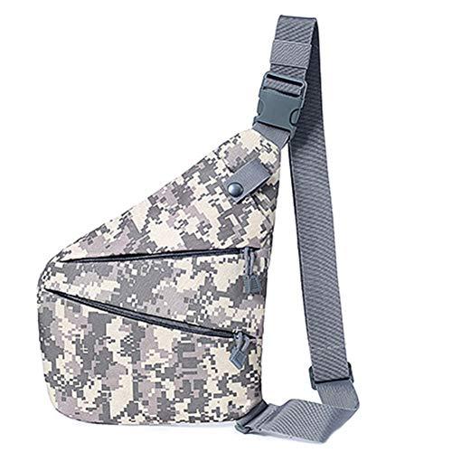 Clenp Bolsa de pecho bandolera para mujeres al aire libre, antirrobo, impermeable, para el pecho, bandolera, bolsa cruzada de camuflaje ACU 31 cm x 26 cm x 1,5 cm