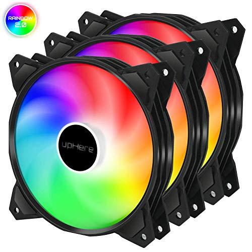 upHere 120mm 3PIN LED Rainbow Silent Lüfter für Gehäuselüfter Computer, 3- Pack (PF120CF3-3