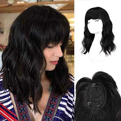 FESHFEN Hair Toppers for Women, Curly Wavy Hair Toppers Wiglet with Bangs for Thinning Crown Synthetic Hair Extensions Clip in Hair Top Hairpieces 16 inch, Natural Black