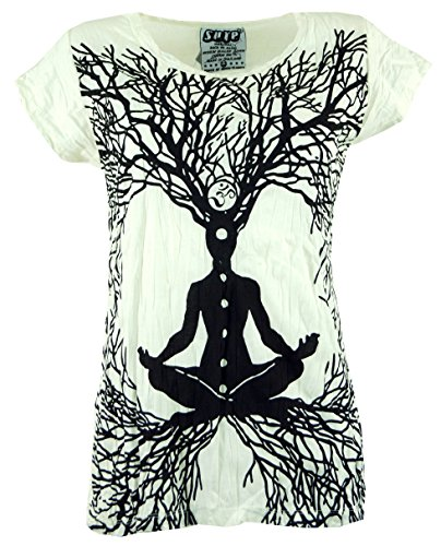 Guru-Shop Sure T-Shirt Meditation Chakra, Damen, Weiß, Baumwolle, Size:S (36), Bedrucktes Shirt Alternative Bekleidung