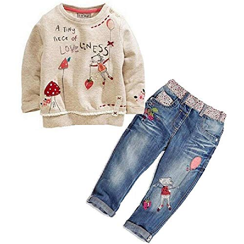 Kinder Kleinkind Kinder Baby Mädchen Kleidung Cute Cartoon Blumen Druck Pullover + Jeans Anzug Outfit Kleidung Set Gr. 3 Jahre, grau