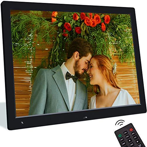 Digitaler Bilderrahmen 15 Zoll Elektronischer Fotorahmen mit Bewegungssensor 1080 * 720 Bildschirm, Video/Musik/Foto Player mit Kalendar Wecker Diashow Automatisch EIN/Aus, Unterstützt USB/SD Karte
