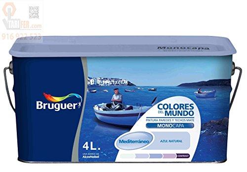 Bruguer 5056899 Wandfarbe Colores del Mundo, 4 l - Mediterranes natürliches Blau