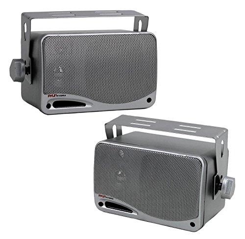 3-Way Waterproof Marine Box Speakers - 3.5' 200 Watt Dual Indoor Outdoor Speaker System - Weatherproof/Waterproof Outdoor Speaker - Home, Boat, Pool, Patio Indoor Outdoor Use - Pyle PLMR24S (Silver)