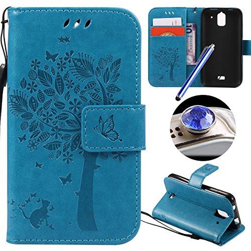 Huawei Y360 Coque,Etsue Fine Folio Cuir Coque de Téléphone Mobile pour Huawei Y360,Raffinement Degré Supérieur Mode Leather Case étui [Relief Arbre Bleu Motif] pour Huawei Y360,Carte de Visite Dossier Fonction Support Portefeuille Pochette Housse en Cuir pour Huawei Y360 avec Lanière Cadeaux Gratuit + 1 x Bleu stylet + 1 x Bling poussière plug (couleurs aléatoires)