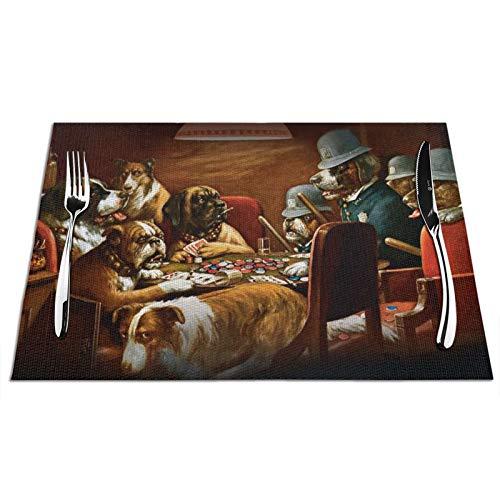 Manteles individuales tejidos para perros jugando al póquer divertido perro jugando juego juego antideslizante mantel lavable para mesa de comedor esterillas de café cocina 30,5 x 45,7 cm