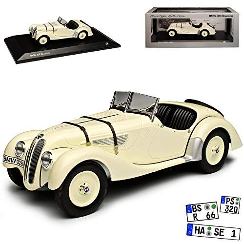 Minichamps B-M-W 328 Roadster Cabrio Beige Oldtimer 1937-1939 1/18 Modell Auto