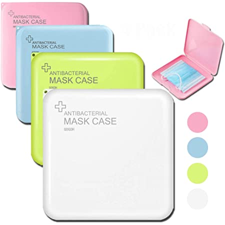Face Mask Case Holder for Mask Pollution Prevention 4 Pcs Face Mask Storage Case 5.11x5.11x0.63, Green, Blue, Pink, White Portable Plastic Storage Boxes with Lids