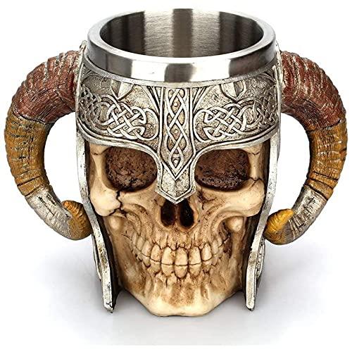 LUOYEPIAO Margen Medieval, Acero Inoxidable Aries, Viking Pirate Taza de la Taza de Vino Grande, Medieval de la Olla de Nieve Cerveza de la Cerveza del café del Ron. 500 ml (17 onzas)