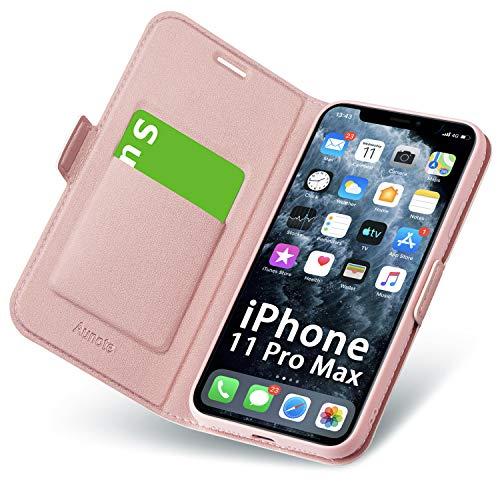 Hülle iPhone 11 Pro Max, Schutzhülle iPhone 11 Pro Max mit Kartenfach/Ständer, Handyhülle Tasche Leder, Etui Folio, Flip Cover Case, PU TPU Komplettschutz Apple XI Pro Max 6.5 Phone 2019. Rosegold