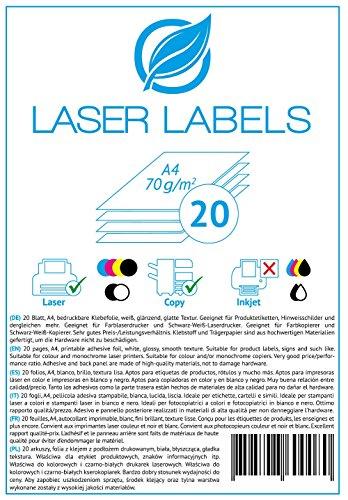 20 Blatt, A4, bedruckbare Klebefolie, weiß, glänzend/geeignet für Produktetiketten, Hinweisschilder. / für Laserdrucker und Kopierer