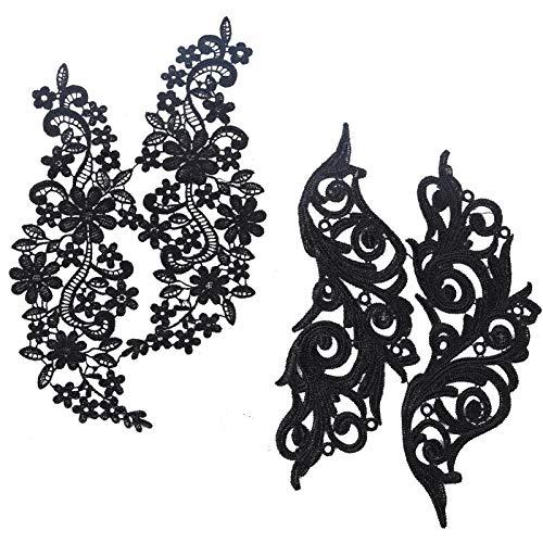 GORGECRAFT 2 par de Apliques de Encaje, Parche de Bordado de Flores, Collares de Adornos de Encaje Negro para Disfraz de Costura Artesanal Decorada con Bricolaje (9.84x5.70, 11.41x5.11)
