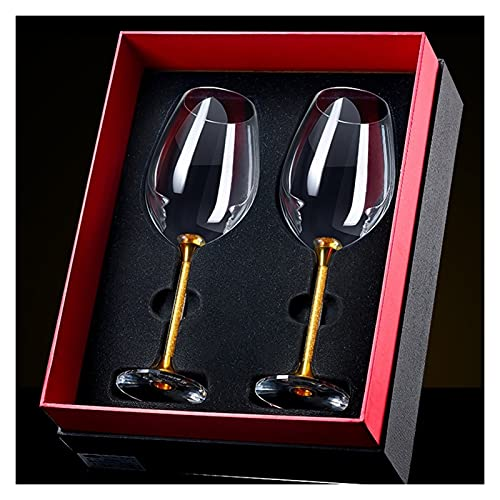 Copa de vino Vino Tinto Vidrio cristalino Cristal Conjunto Inicio Cristal 2 Cajas de Regalo HMLIFE (Size : 460ml)