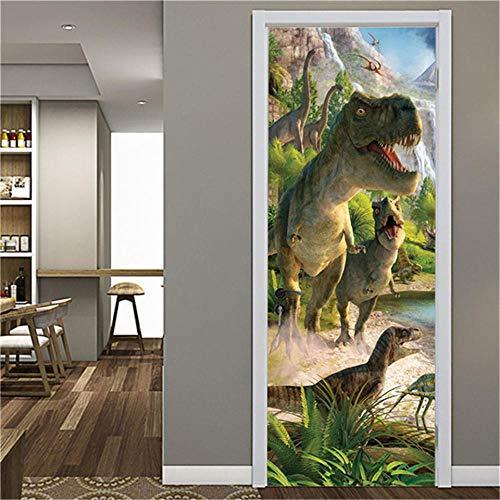 ZZwy Door Stickers 3D Türaufkleber Türtapete Wandbild Pflanzen Tiere Dinosaurier (90 * 210Cm) Selbstklebend PVC Wasserdicht Abnehmbar Türfolie Türposter Fototapete Wohnzimmer Tür Kunst