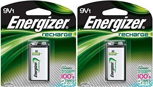 2 Energizer Rechargeable 9 Volt Batteries,