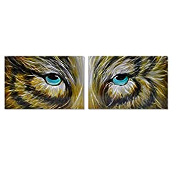 Silver Fox Modern Wall Art - Metal Decor in 2 Panels of 16 x 49 - Animal Wall Sculpture is The Perfect Decoration for Living Room or Kitchen