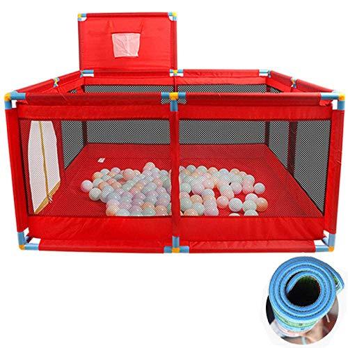 Iyom 22 sq ft RojoCunas Cama De Bebe con Malla Transpirable,4 Piezas Bolas Piscina Bolas para Niños, Corralitos Portátiles, Valla Playard Play Center