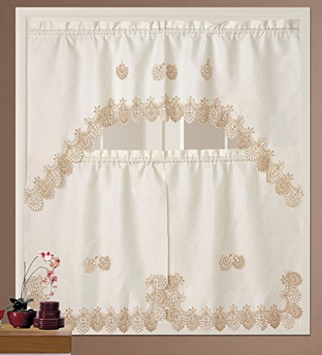BH Home Royal Macrame 3-Piece Kitchen Curtain Window Treatment Set (Beige)