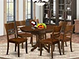 7 Pc Kenley Dining Table with a 18' Leaf and 6 hard wood Kitchen Chairs in Espresso .