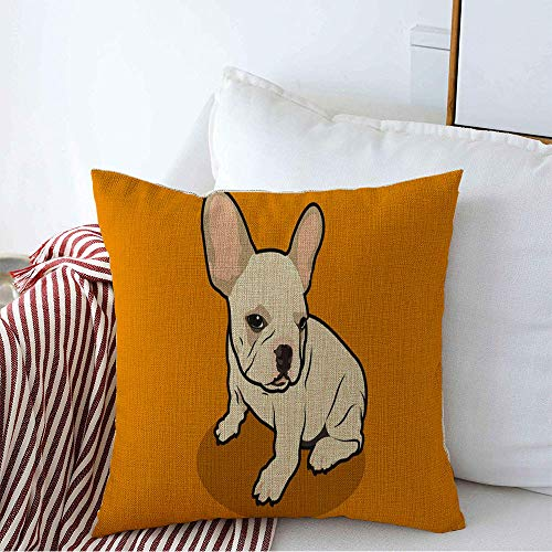 Decorative Linen Square Throw Pillow Cover Brown Breed Cute Chubby French Bulldog His Adorable Animals Wildlife Orange Canine Character Dog Cozy Cushion Pillowcase Case for Couch Car 20 x 20 Inch
