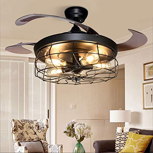 DLLT Ceiling Fan with Lights-42 Inch Industrial Ceiling Fan with Retractable Blades, Vintage Cage Ceiling Lights Fixture with Remote for Kitchen, Dining Room, Living Room, 5 E26 Bulb Not Included, Black