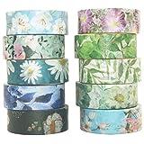 Yubbaex 花柄マスキングテープ暖かくて寒い 15mm幅 x 10巻 薄いです プレゼント包装、DIY工芸品、ノートの装飾に使える (冷たいトーン)