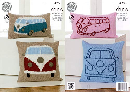 King Cole 4324 Knitting Pattern Camper Van Cushion Covers to knit in King Cole Chunky