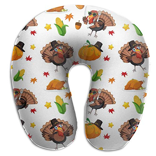Almohada para el Cuello Turquía Patrón de otoño Almohada de Viaje en Forma de U Diseño ergonómico Contorneado Funda Lavable