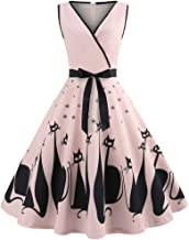 TOTOD Vintage Cat Printed Swing Retro Dress Ladies Elegant V Neck Sleeveless Hepburn Party Dress