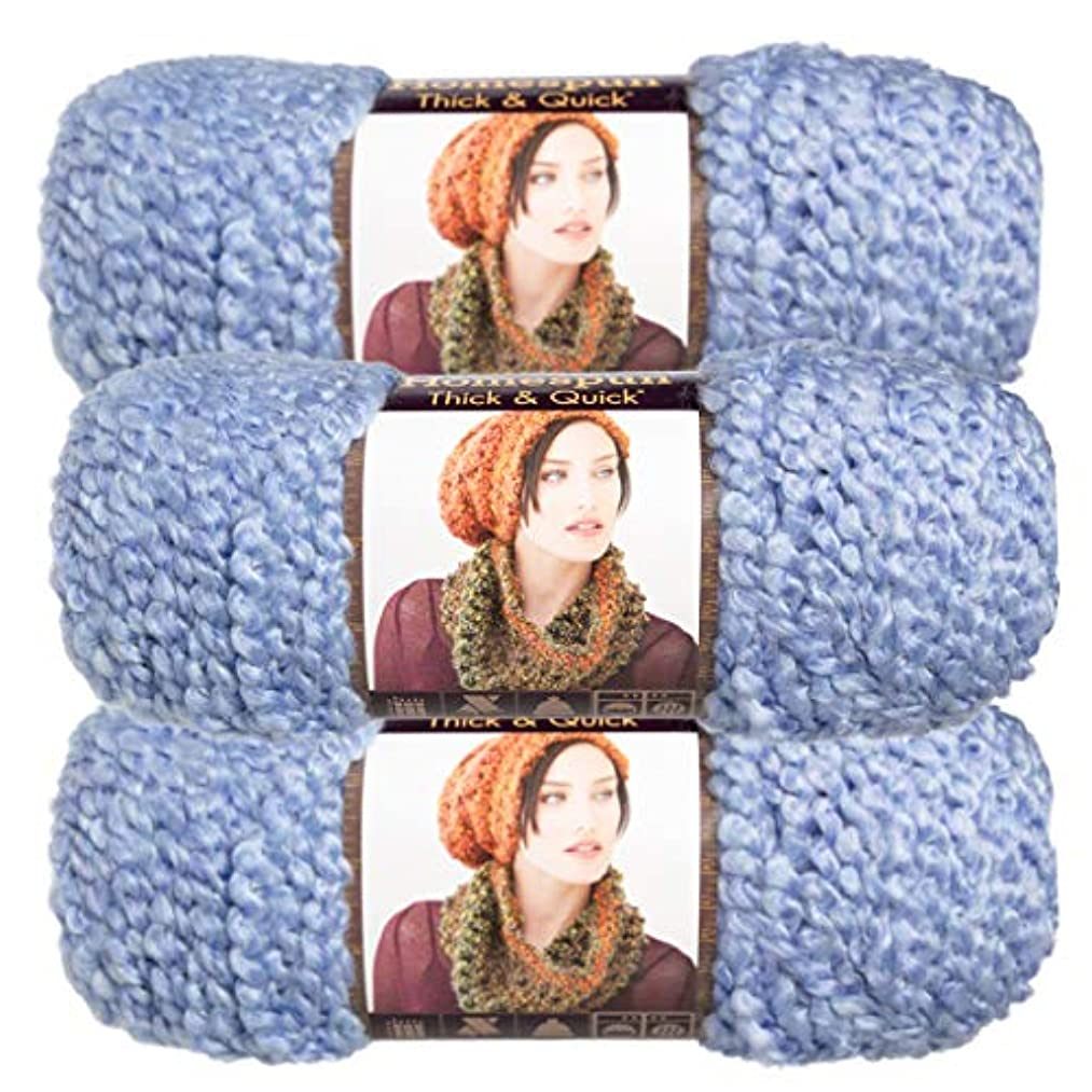 Lion Brand (3 Pack) Homespun Thick & Quick Acrylic & Polyester Soft Periwinkle Light Blue Yarn for Knitting Crocheting Super Bulky #6