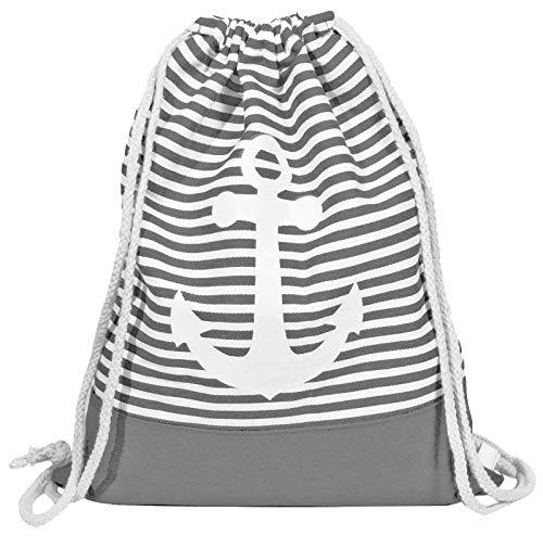 Gym Bag Anker Grau - Turnbeutel-Rucksack in maritimem Design für Damen, Herren und Kinder