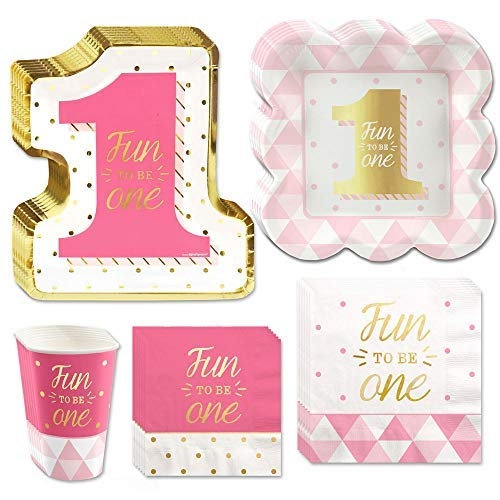 Big Dot of Happiness Fun to be One - 1st Birthday Girl with Gold Foil - Party Tableware Plates, Napkins - Bundle for 16