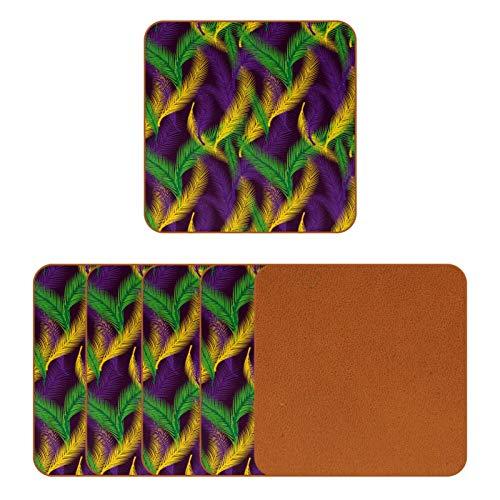 Posavasos de cuero para bebidas, diseño de hojas de palma, cuadrado, para proteger muebles, resistente al calor, decoración de bar, juego de 6