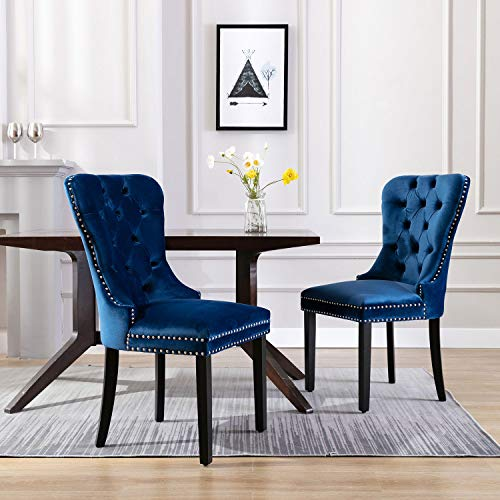 ZHENGHAO Elegant Tufted Button Dining Chair, Upholstered Velvet Armless Chair Set of 2, Accent Chair with Chrome Ring (Navy Blue)