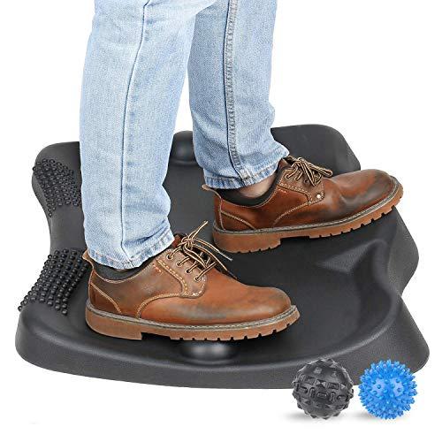 Sokiss Not-Flat Standing Desk Anti-Fatigue Mat with 2 Massage Balls, Ergonomic Office Work Standing Desk Mat,Comfort Kitchen Floor Foot Mats(Obsidian Black)