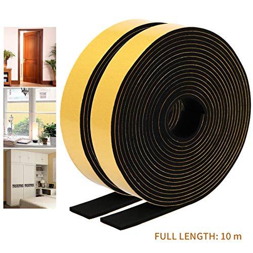 EXTSUD Dichtungsband für Türen Fenster Selbstklebende Schaumstoffband Türdichtung gegen Insekt Gummidichtungsband für Kollision Siegel Schalldämmung 12mm(B)*6mm(D)*10m(L)/2 Rolle*5M