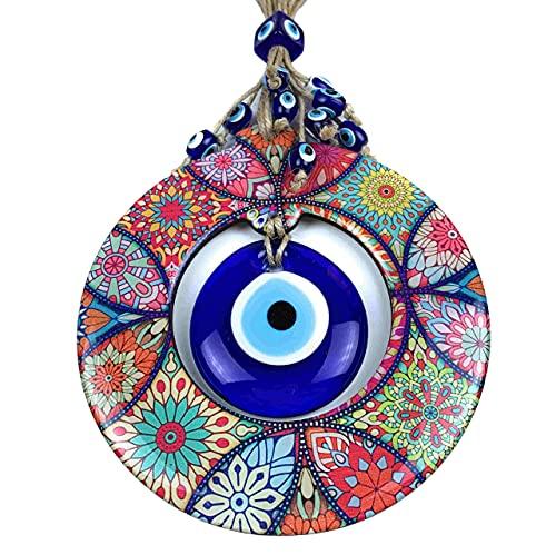 BCS Amazing Mandala Evil Eye Decor Home Wall Hanging 5.1' Wooden Frame Glass Bead Multicolor Floral Pattern Handmade Turkish Nazar Amulet Good Luck Charm