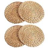 Sonline Kuerbis - Juego de 4 manteles individuales redondos de ratán tejido para mesa redonda de 30 cm, color verde
